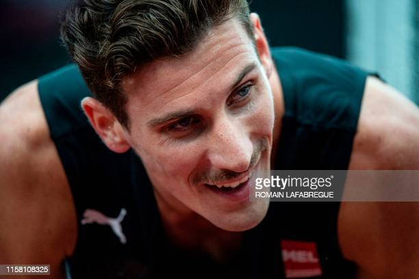 Pierre-Ambroise Bosse reacts after winning the men's 800m final during the France Athletics Championships 2019 at the Henri-Lux stadium in...