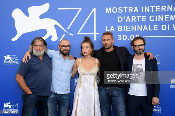 PierreAnge Le Pogam Michael Roskam Adele Exarchopoulos Matthias Schoenaerts and Bart Van Langendonck attend the 'Racer And The Jailbird ' photocall...