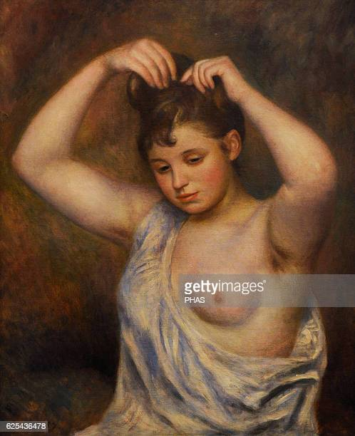 PierreAuguste Renoir French painter Impressionist style Woman arranging her hair 1887 Oil on canvas The State Hermitage Museum Saint Petersburg Russia