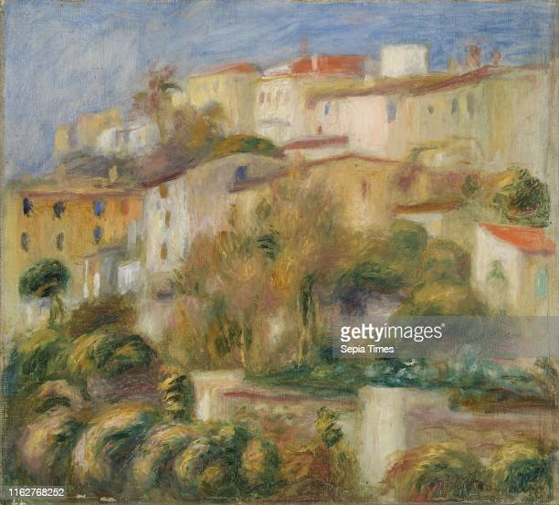 Pierre-Auguste Renoir: Houses on a Hill , Pierre-Auguste Renoir Oil on canvas, Overall: 10 1/2 x 11 1/2 in. .