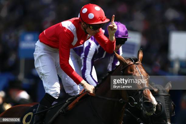PierreCharles Boudot of France riding Le Brivido acknowledges victory in the group 3 Jersey Stakes race day two of Royal Ascot 2017 at Ascot...