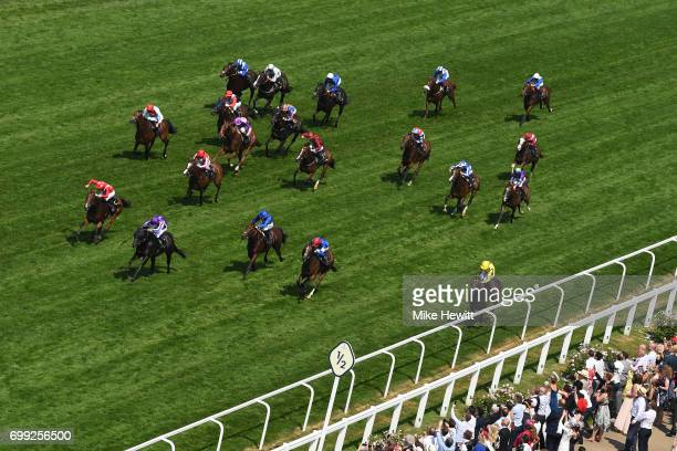 PierreCharles Boudot on Le Brivido on their way to victory in the Jersey Stakes on Day Two of Royal Ascot at Ascot Racecourse on June 21 2017 in...