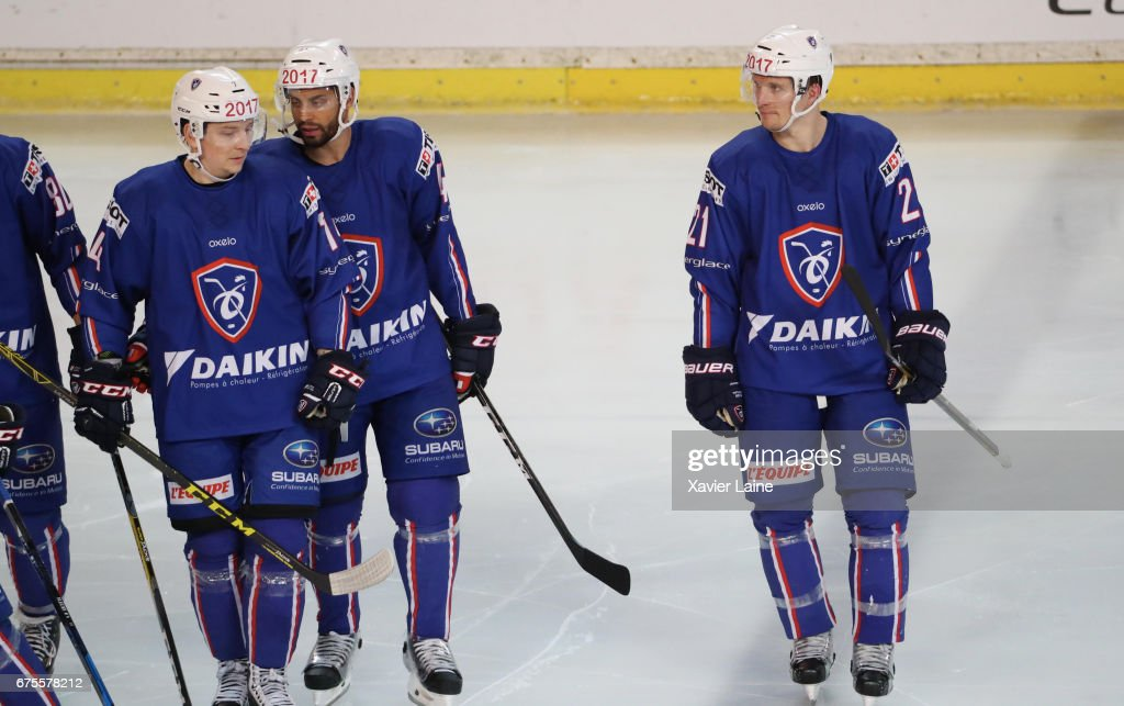 Pierre-Edouard Bellemare and Antoine Roussel of France react with teammattes during the Ice Hockey Friendly match between France and Belarus at Patinoire Meriadeck on May 1, 2017 in Bordeaux, France.