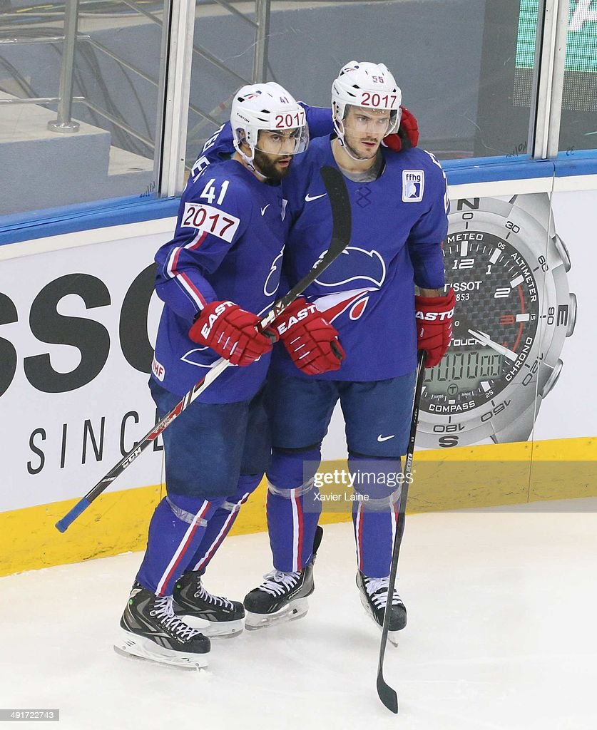 Pierre-Edouard Bellemare celebrate his goal with Jonathan Janil during the 2014 IIHF World Championship between France and Norway at Chizhovka arena on may 17,2014 in Minsk, Belarus.