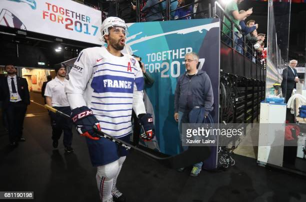 PierreEdouard Bellemare of France before the 2017 IIHF Ice Hockey World Championship game between Switzerland and France at AccorHotels Arena on May...
