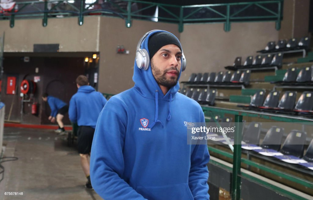 Pierre-Edouard Bellemare of France heats before the Ice Hockey Friendly match between France and Belarus at Patinoire Meriadeck on May 1, 2017 in Bordeaux, France.