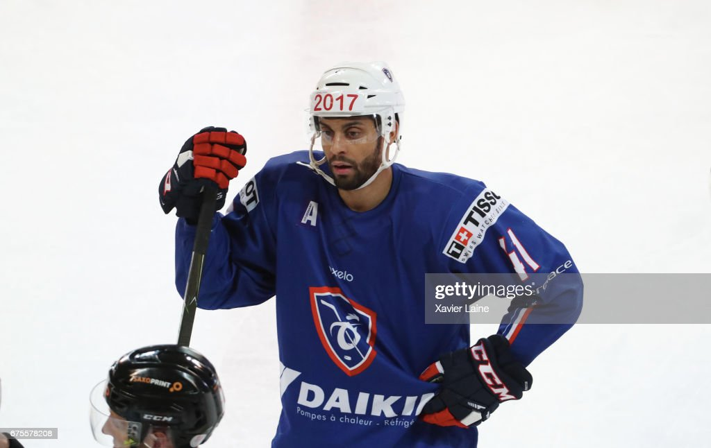 Pierre-Edouard Bellemare #41 of France reacts during the Ice Hockey Friendly match between France and Belarus at Patinoire Meriadeck on May 1, 2017 in Bordeaux, France.