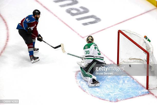 Pierre-Edouard Bellemare of the Colorado Avalanche scores a goal past Ben Bishop of the Dallas Stars during the first period in Game Five of the...