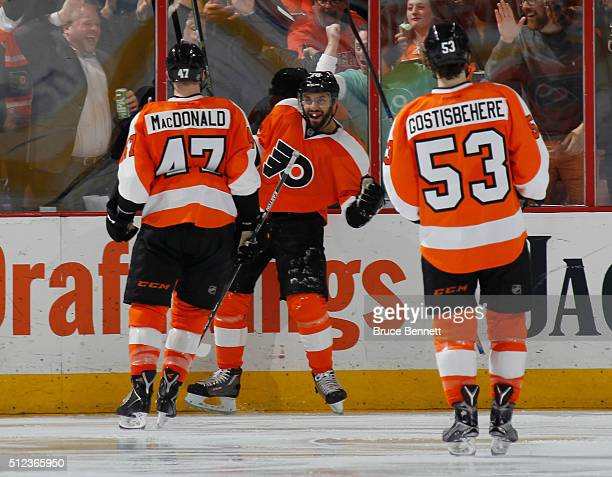 PierreEdouard Bellemare of the Philadelphia Flyers celebrates the game winning goal at 321 of the third period against the Minnesota Wild at the...