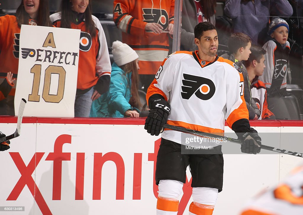 Pierre-Edouard Bellemare #78 of the Philadelphia Flyers skates during warm ups, prior to the game against the Colorado Avalanche at the Pepsi Center on December 14, 2016 in Denver, Colorado.