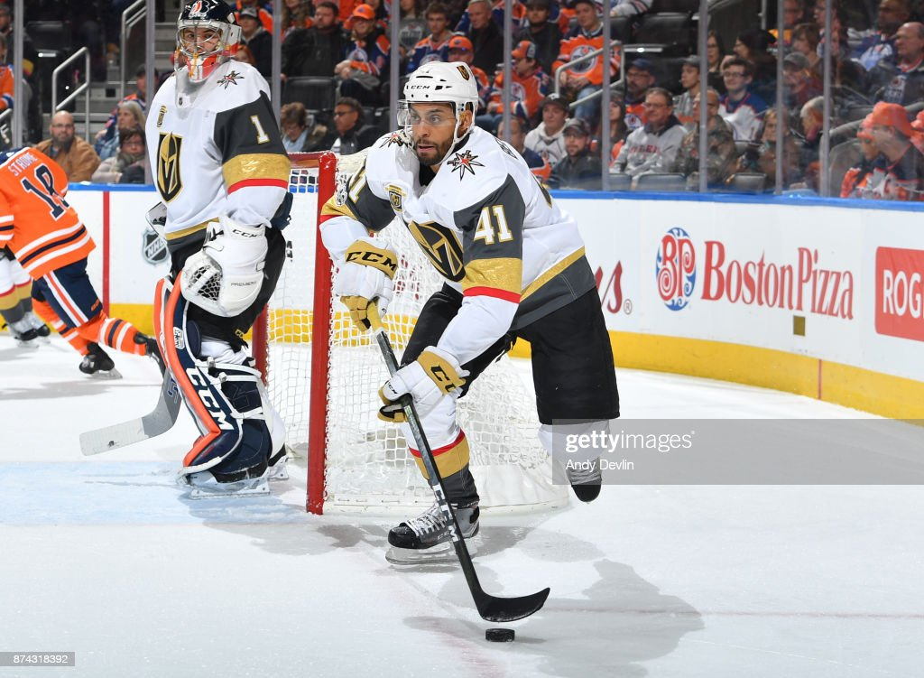 Pierre-Edouard Bellemare #41 of the Vegas Golden Knights skates during the game against the Edmonton Oilers on November 14, 2017 at Rogers Place in Edmonton, Alberta, Canada.