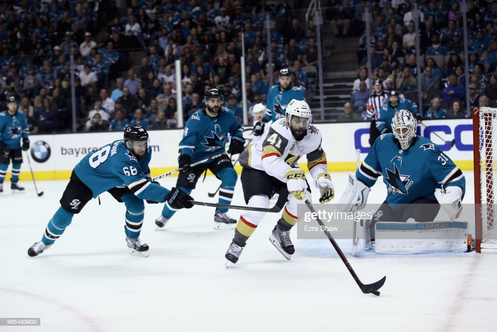 Pierre-Edouard Bellemare #41 of the Vegas Golden Knights tries to score on Martin Jones #31 of the San Jose Sharks during Game Six of the Western Conference Second Round during the 2018 NHL Stanley Cup Playoffs at SAP Center on May 6, 2018 in San Jose, California.
