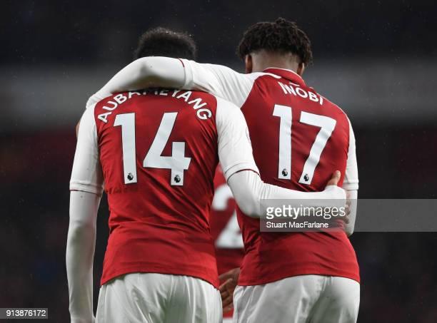 PierreEmerick Aubameyang and Alex Iwobi of Arsenal during the Premier League match between Arsenal and Everton at Emirates Stadium on February 3 2018...