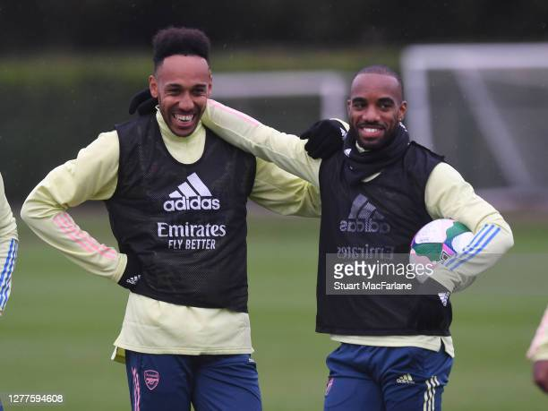 PierreEmerick Aubameyang and Alex Lacazette of Arsenal during a training sesion at London Colney on September 30 2020 in St Albans England