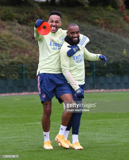 PierreEmerick Aubameyang and Alex Lacazette of Arsenal during a training session at London Colney on October 16 2020 in St Albans England