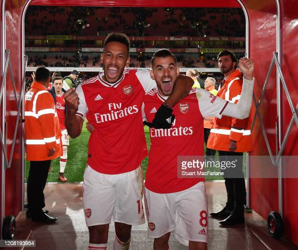 PierreEmerick Aubameyang and Dani Ceballos celebrates Arsenal's win after the Premier League match between Arsenal FC and Everton FC at Emirates...