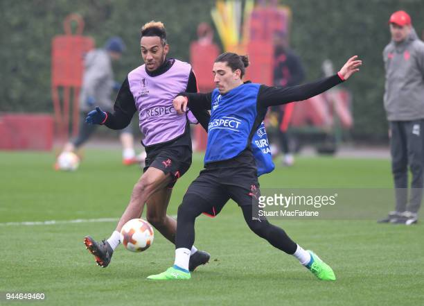 PierreEmerick Aubameyang and Hector Bellerin of Arsenal during a training session at London Colney on April 11 2018 in London England