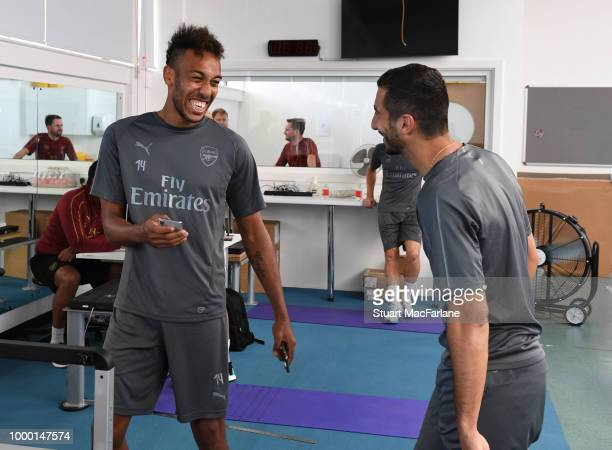 PierreEmerick Aubameyang and Henrikh Mkhitaryan of Arsenal before a training session at London Colney on July 16 2018 in St Albans England