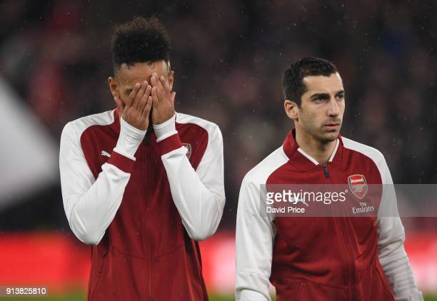 PierreEmerick Aubameyang and Henrikh Mkhitaryan of Arsenal before the match the Premier League match between Arsenal and Everton at Emirates Stadium...