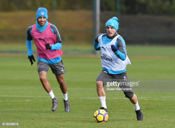 PierreEmerick Aubameyang and Henrikh Mkhitaryan of Arsenal during a training session at London Colney on February 2 2018 in St Albans England