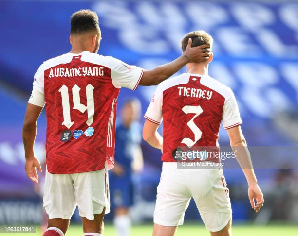 PierreEmerick Aubameyang and Kieran TIerney of Arsenal during the FA Cup Final match between Arsenal and Chelsea at Wembley Stadium on August 01 2020...