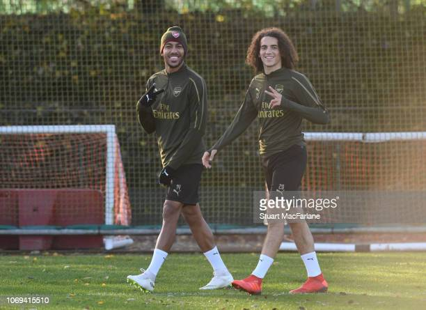 PierreEmerick Aubameyang and Matteo Guendouzi of Arsenal during a training session at London Colney on December 7 2018 in St Albans England