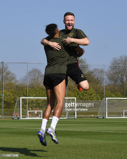 Pierre-Emerick Aubameyang and Shkodran Mustafi of Arsenal during a training session at London Colney on April 20, 2019 in St Albans, England.