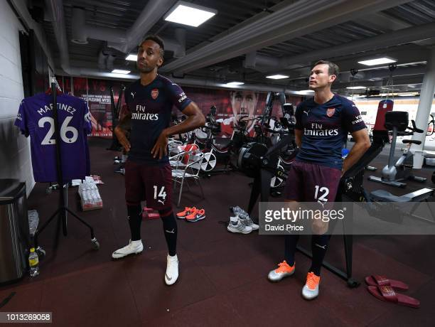 PierreEmerick Aubameyang and Stephan Lichsteiner of Arsenal during the Arsenal 1st team photocall at London Colney on August 8 2018 in St Albans...