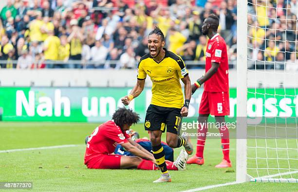 PierreEmerick Aubameyang celebrates after scoring his team's 3rd goal during the Bundesliga match between Hanover 96 v Borussia Dortmund at HDIArena...