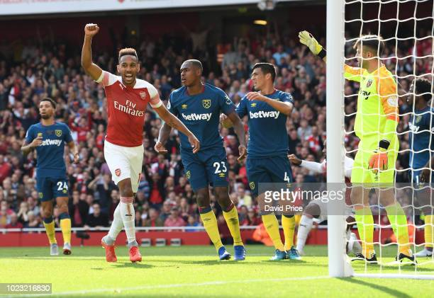 PierreEmerick Aubameyang celebrates Arsenal's 2nd goal during the Premier League match between Arsenal FC and West Ham United at Emirates Stadium on...