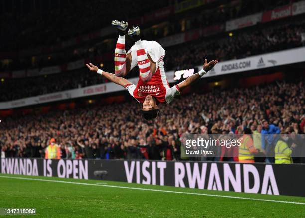 Pierre-Emerick Aubameyang celebrates scoring a goal for Arsenal during the Premier League match between Arsenal and Crystal Palace at Emirates...