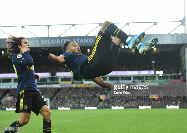 PierreEmerick Aubameyang celebrates scoring Arsenal's 2nd goal during the Premier League match between Norwich City and Arsenal FC at Carrow Road on...