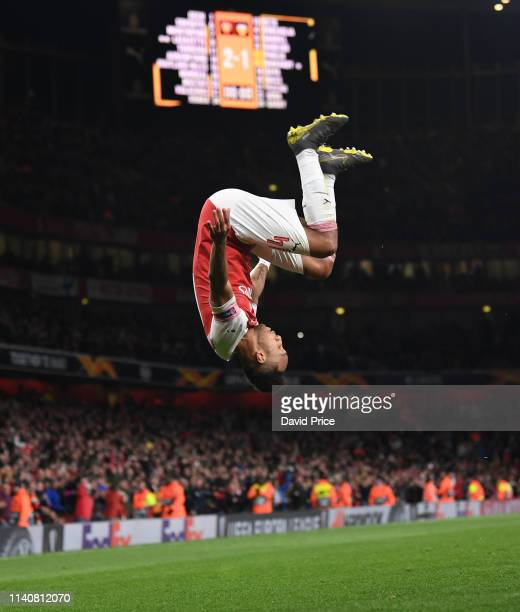 PierreEmerick Aubameyang celebrates scoring Arsenal's 3rd goal during the UEFA Europa League Semi Final First Leg match between Arsenal and Valencia...