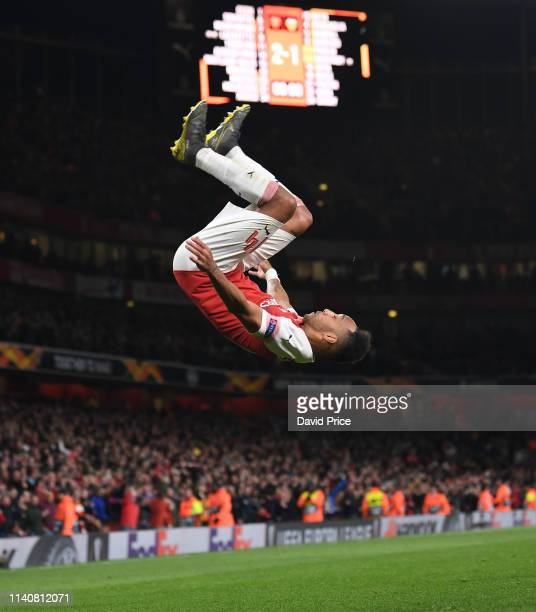 PierreEmerick Aubameyang celebrates scoring Arsenal's 3rd goal during the UEFA Europa League Semi Final First Leg match between Arsenal and Valencia...