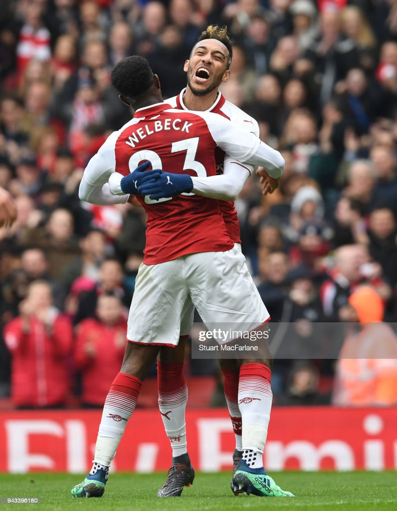 Pierre-Emerick Aubameyang celebrates scoring the 1st Arsenal goal with Danny Welbeck during the Premier League match between Arsenal and Southampton at Emirates Stadium on April 8, 2018 in London, England.