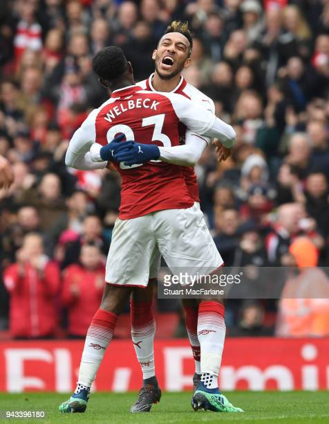 PierreEmerick Aubameyang celebrates scoring the 1st Arsenal goal with Danny Welbeck during the Premier League match between Arsenal and Southampton...