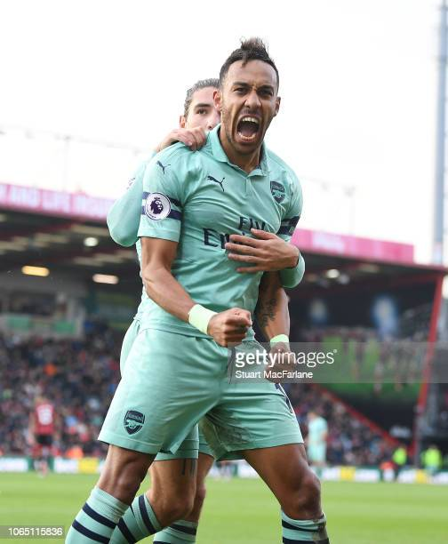 Pierre-Emerick Aubameyang celebrates scoring the 2nd Arsenal goal during the Premier League match between AFC Bournemouth and Arsenal FC at Vitality...