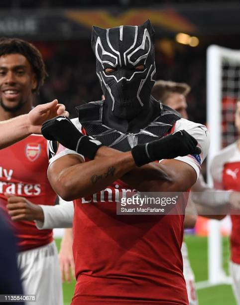 PierreEmerick Aubameyang celebrates scoring the the 3rd Arsenal goal during the UEFA Europa League Round of 16 Second Leg match between Arsenal and...
