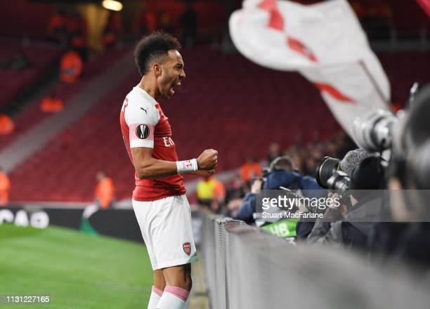 PierreEmerick Aubameyang celebrates the 1st Arsenal goal during the UEFA Europa League Round of 32 Second Leg match between Arsenal and BATE Borisov...