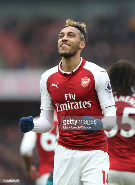 PierreEmerick Aubameyang celebrates the equalising goal during the Premier League match between Arsenal and Southampton at Emirates Stadium on April...