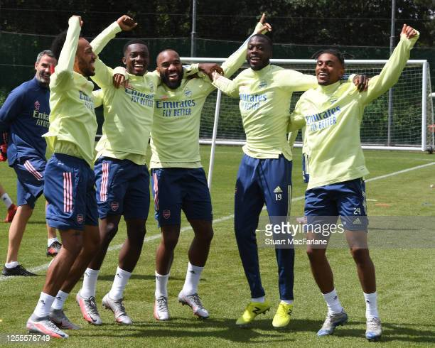 Pierre-Emerick Aubameyang, Eddie Nketiah, Alex Lacazette, Nicolas Pepe and Reiss Nelson of Arsenal during a training session at London Colney on July...