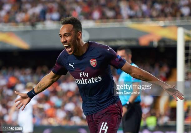 PierreEmerick Aubameyang forward of Arsenal CF celebrates his goal during UEFA Europa League Semi Final Second Leg match between Valencia CF and...