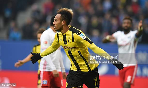 PierreEmerick Aubameyang from Dortmund celebrates his goal during the German first division Bundesliga football match between Hamburg SV and BVB...