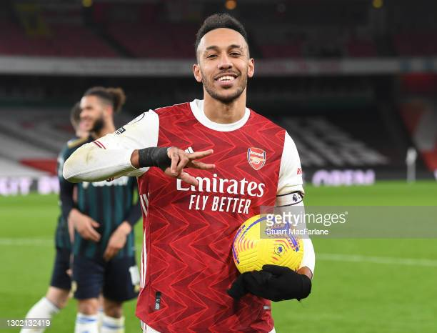 Pierre-Emerick Aubameyang holds the match ball after scoring a hat-trick for Arsenal after the Premier League match between Arsenal and Leeds United...