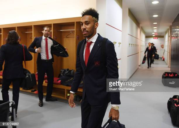 PierreEmerick Aubameyang in the Arsenal changing room before the Premier League match between Arsenal and Everton at Emirates Stadium on February 3...
