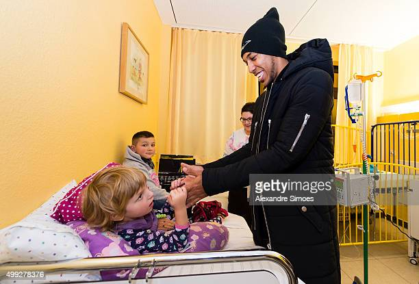 PierreEmerick Aubameyang is seen during the annual visit of Borussia Dortmund at the children's hospital on November 30 2015 in Dortmund Germany