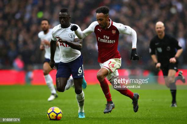PierreEmerick Aubameyang of Arsenal and Davinson Sanchez of Tottenham Hotspur in action during the Premier League match between Tottenham Hotspur and...