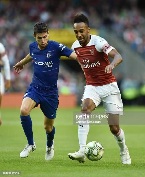 PierreEmerick Aubameyang of Arsenal and Jorginho of Chelsea during the Preseason friendly International Champions Cup game between Arsenal and...