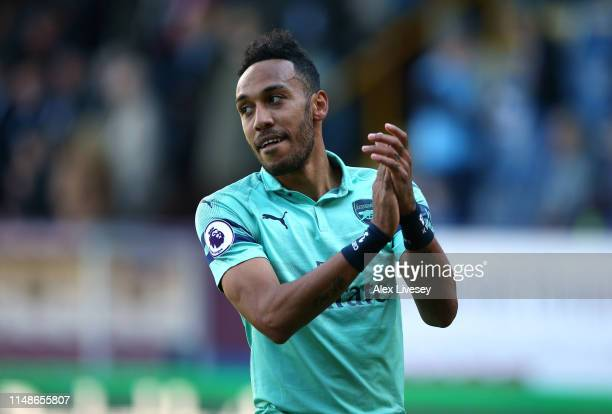 PierreEmerick Aubameyang of Arsenal applauds their support after the Premier League match between Burnley FC and Arsenal FC at Turf Moor on May 12...
