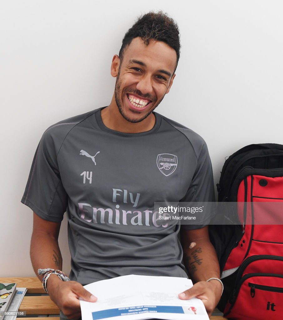Pierre-Emerick Aubameyang of Arsenal attends a medical screening session at London Colney on July 3, 2018 in St Albans, England.